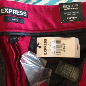 Express Editor Pants, NWT, dark red.